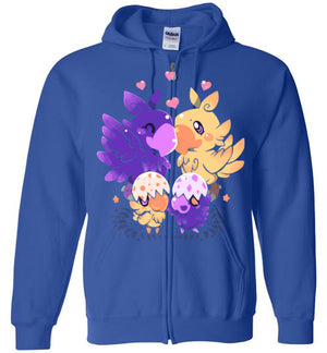 Loving Choco Family-Anime Zipper Hoodies-Art Of Sarah Richford|Threadiverse