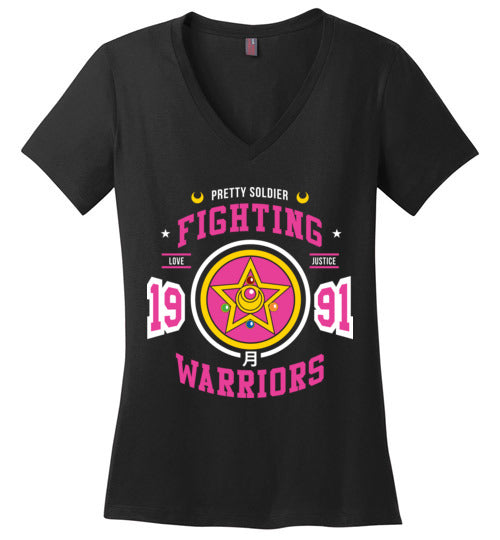 Fighting Senshi-Anime Women's Perfect Weight V-Necks-Machmigo|Threadiverse