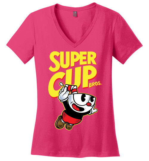 Cup Head Bros-Gaming Women's Perfect Weight V-Necks-Demonigote|Threadiverse