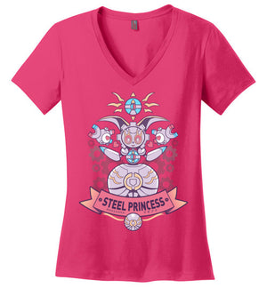 Steel Princess-Gaming Women's Perfect Weight V-Necks-Art Of Sarah Richford|Threadiverse