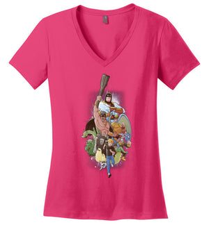 Childhood Heroes-Animation Women's Perfect Weight V-Necks-Skullpy|Threadiverse