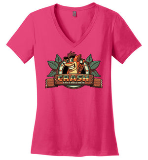 Childhood Hero-Gaming Women's Perfect Weight V-Necks-Typhoonic Art|Threadiverse