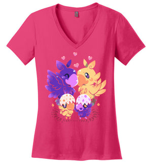 Loving Choco Family-Anime Women's Perfect Weight V-Necks-Art Of Sarah Richford|Threadiverse