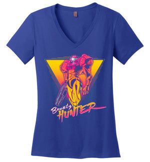 Bounty Hunter-Gaming Women's Perfect Weight V-Necks-Ddjvigo|Threadiverse