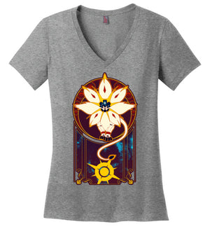 Art of the Sun-Gaming Women's Perfect Weight V-Necks-Chocolate Raisins Art|Threadiverse