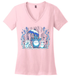 Winter Forest Friends-Anime Women's Perfect Weight V-Necks-Art Of Sarah Richford|Threadiverse