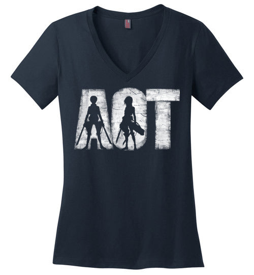 AOT-Anime Women's Perfect Weight V-Necks-Ddjvigo|Threadiverse