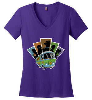 Mystery Pals-Animation Women's Perfect Weight V-Necks-Skullpy|Threadiverse