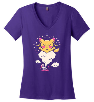 Electric Buddy-Gaming Women's Perfect Weight V-Necks-Minilla|Threadiverse