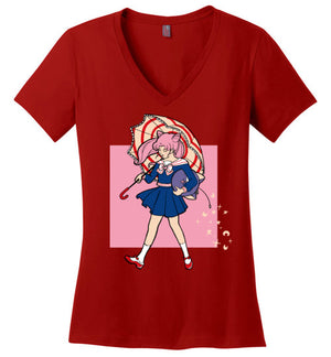 Salty-Anime Women's Perfect Weight V-Necks-Eriphy|Threadiverse
