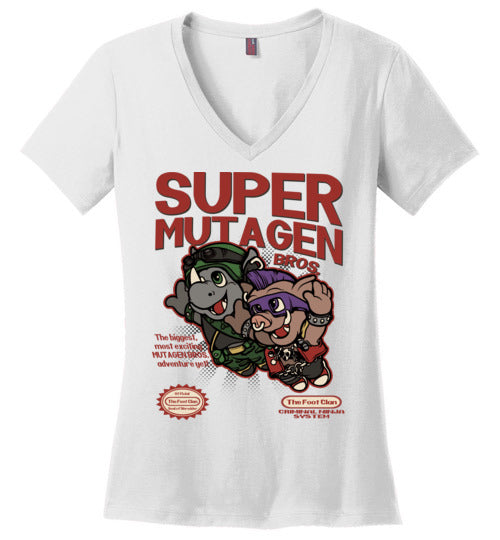 Super Mutagen Bros-Pop Culture Women's Perfect Weight V-Necks-Angzdu|Threadiverse