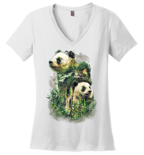 Panda Montage-Indie Women's Perfect Weight V-Necks-Barrett Biggers|Threadiverse