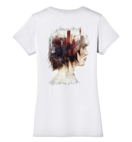 Lady In The City-Indie Women's Perfect Weight V-Necks-Barrett Biggers|Threadiverse