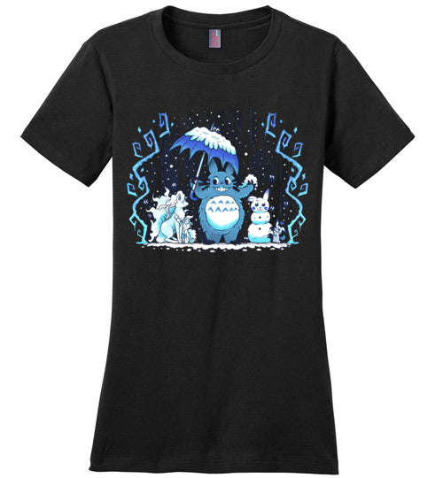 Winter Forest Friends-Anime Women's Perfect Weight Shirts-Art Of Sarah Richford|Threadiverse
