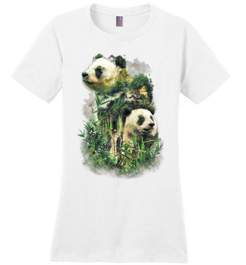 Panda Montage-Indie Women's Perfect Weight Shirts-Barrett Biggers|Threadiverse