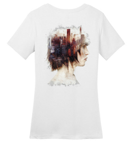 Lady In The City-Indie Women's Perfect Weight Shirts-Barrett Biggers|Threadiverse
