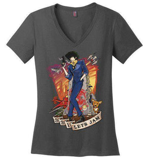 3,2,1 Let's Jam-Anime Women's Perfect Weight V-Necks-TrulyEpic|Threadiverse