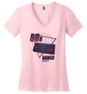 80's Gamer Forever-Gaming Women's Perfect Weight V-Necks-Typhoonic Artwork|Threadiverse