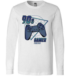 90s gamer (Play)-Gaming Long Sleeves-Typhoonic Artwork|Threadiverse