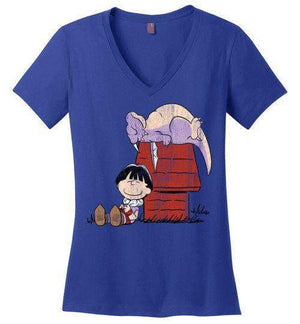 A Boy And His Dragon-Anime Women's Perfect Weight V-Necks-Ddjvigo|Threadiverse