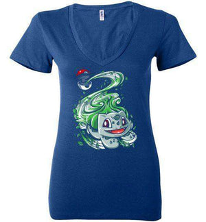 Bulbasaur Pokeball-Gaming Women's V-Necks-Punksthetic Designs|Threadiverse