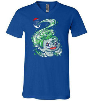 Bulbasaur Pokeball-Gaming V-Necks-Punksthetic Designs|Threadiverse