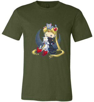 Crazy Moon Cat Lady-Anime V-Necks-Bear Nuts Comics|Threadiverse