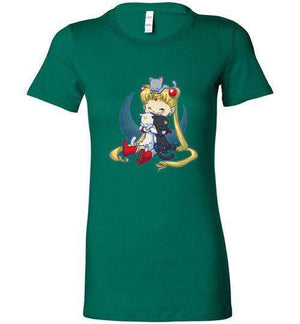Crazy Moon Cat Lady-Anime Women's Shirts-Bear Nuts Comics|Threadiverse
