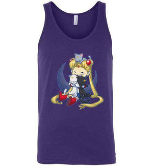 Crazy Moon Cat Lady-Anime Tank Tops-Bear Nuts Comics|Threadiverse