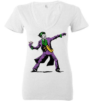 Crime Clown Banksy-Comics Women's V-Necks-DEMONIGOTE|Threadiverse