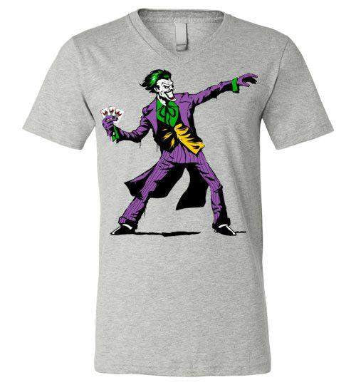 Crime Clown Banksy-Comics V-Necks-DEMONIGOTE|Threadiverse