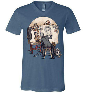 Doctor Rockwell-Pop Culture V-Necks-Creative Outpouring|Threadiverse