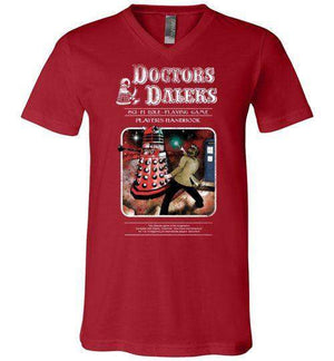 Doctors And Daleks-Pop Culture V-Necks-Creative Outpouring|Threadiverse