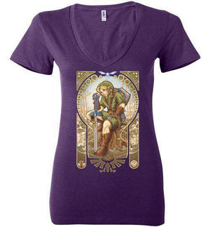 Hero Of Time-Gaming Women's V-Necks-Saqman|Threadiverse