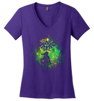 Hyrule's Hero-Gaming Women's Perfect Weight V-Necks-Donnie Illustrateur|Threadiverse