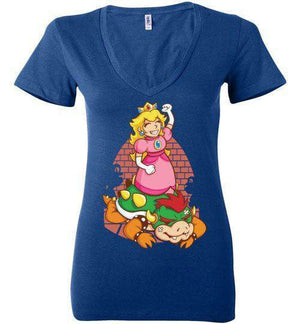 I Can Save Myself (Peach)-Gaming Women's V-Necks-TrulyEpic|Threadiverse
