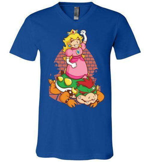 I Can Save Myself (Peach)-Gaming V-Necks-TrulyEpic|Threadiverse