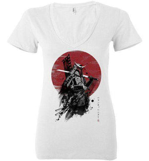 Mandalorian Samurai-Pop Culture Women's V-Necks-Ddjvigo|Threadiverse