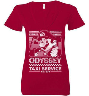Mario Odyssey Taxi Service-Gaming Women's V-Necks-Punksthetic Designs|Threadiverse