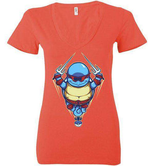 Ninja Squirtle-Gaming Women's V-Necks-TrulyEpic|Threadiverse