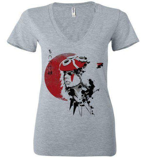 Red Sun Princess-Anime Women's V-Necks-Ddjvigo|Threadiverse