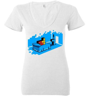 Sextris-Gaming Women's V-Necks-DEMONIGOTE|Threadiverse