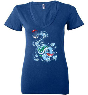 Squirtle Pokeball-Gaming Women's V-Necks-Punksthetic Designs|Threadiverse