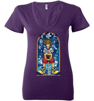 Stained Glass Of Memories-Gaming Women's V-Necks-Whimsy Design And Illustration|Threadiverse