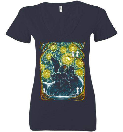 Starry Forest-Anime Women's V-Necks-Ddjvigo|Threadiverse