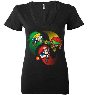 Super Puff Bros (M,L,S)-Gaming Women's V-Necks-Punksthetic Designs|Threadiverse