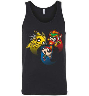 Super Puff Bros (P,N,B)-Gaming Tank Tops-Punksthetic Designs|Threadiverse