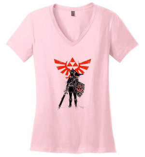 Traditional Hero Of Time-Gaming Women's Perfect Weight V-Necks-Donnie Illustrateur|Threadiverse