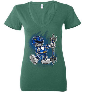 Vintage Blue Ranger-Pop Culture Women's V-Necks-Punksthetic Designs|Threadiverse