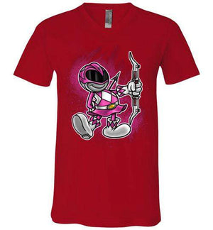 Vintage Pink Ranger-Pop Culture V-Necks-Punksthetic Designs|Threadiverse